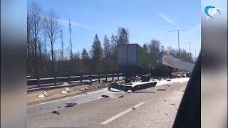 На трассе М-11 столкнулись два грузовика