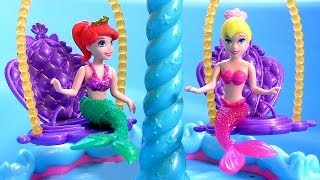 Ariel's Floating Fountain Color Changers with Disney Frozen Anna Elsa - Play Doh Peppa Mermaid