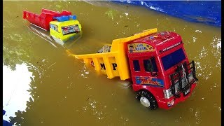 Huge Truck Transporting Stone Throuh River - Excavator and Car Toys For Kids