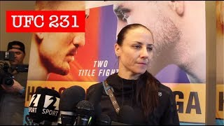 NINA ANSAROFF PRE-FIGHT UFC 231 MEDIA SCRUM