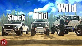 SpinTires MudRunner: Nissan Titan XD   Stock vs Mild vs WILD! (Truck Night in America)