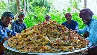 PRAWNS FRY | Crispy Shrimp Fry Recipe Cooking in Village | Tasty Fried Shrimp Seafood Recipe