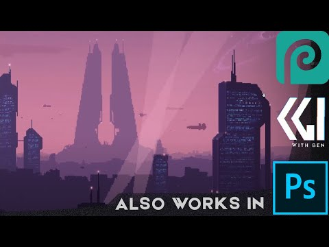 Paint a pixel art city / wallpaper / game background in photopea (free online photoshop) 8-bit style