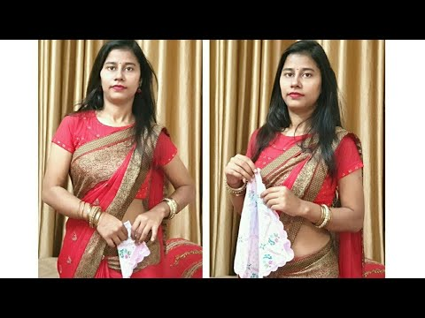 How to Tuck Hanky in Saree in Different Style / Zigzag Cone shape Hanky Style