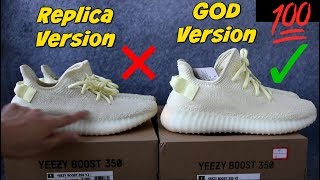 """YEEZY BUTTER - """"FAKE Replica"""" Vs. """"UA Yeezy Boost 350 V2 Butter"""" - {Review, Unboxing + On Feet}"""