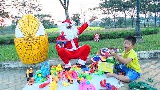 Trứng Khổng Lồ Người Nhện Đồ Chơi & Ông Già Noel ❤ Surich ToysReview ❤ Giant Egg Spiderman Christmas