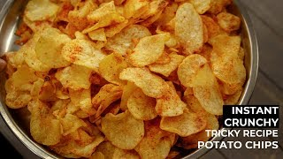 Potato Chips Recipe - Crunchy Instant Hot Wafers / Aloo Lays - CookingShooking