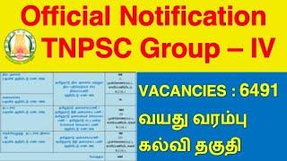 TNPSC Group-4/CCSE-IV Official Notification