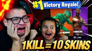 1 KILL = 10 FREE SKINS FOR MY 9 YEAR OLD LITTLE BROTHER! 9 YEAR OLD PLAY SOLO FORTNITE BATTLE ROYALE