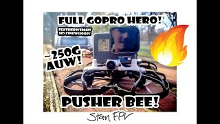 FULL GoPro HERO on a 250g AUW FPV Drone?! OMG!!! - Pusher Bee Test Flight Footage