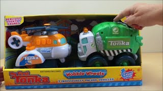 preview picture of video 'My first Tonka wobble wheels helicopter and recycling garbage truck toys for age 1 year plus'
