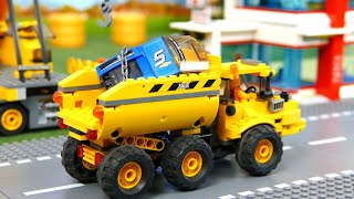 Lego Cars : Police car,  Crane, dump truck, tractor, and excavator  Vehicles for Kids