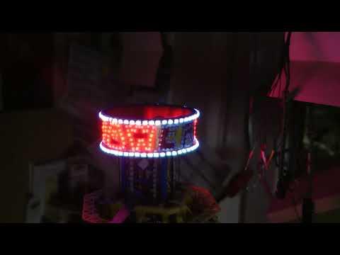 Faller Modellban Kirmes Power Tower Schriftzug Läuft mit LED Beleuchtung