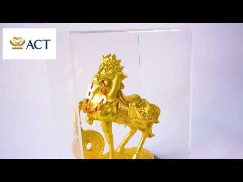 Tượng Ngựa tài lộc dát vàng (14x17x22cm)