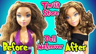 Thrift Store Barbie My Scene Doll Makeover - DIY How To Fix And Curl Doll Hair - Making Kids Toys
