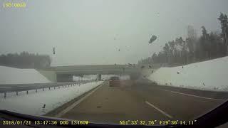WYPADEK BMW Z SKODĄ NA A1 21.01.18(video)CRASH CAR ON  THE HIGHWAY