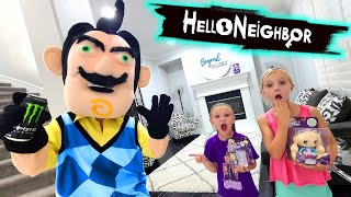 Hello Neighbor Drinks Monster Energy Drink and Steals Our New Toys!!! Toy Scavenger Hunt!