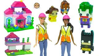 Builder Construction Barbie Dolls - Building LEGO BrickHeadz Batman, Joker, Beauty and the Beast