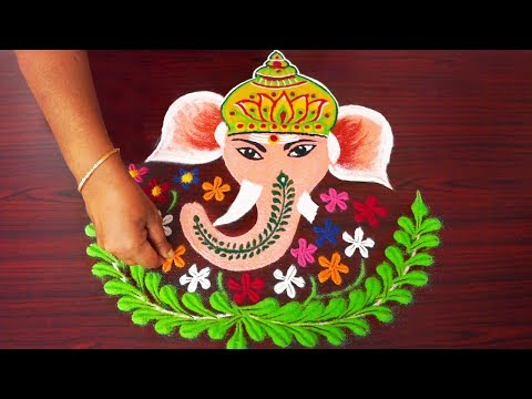creative festival rangoli design ganesha by simple rangoli