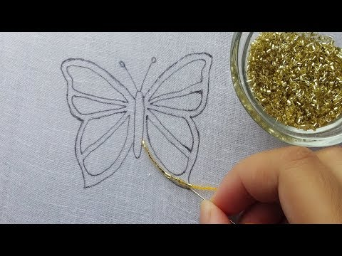 hand embroidery: amazing beaded butterfly idea  beads work Beading Butterfly embroidery