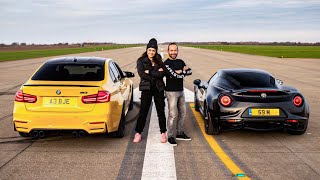 DRAG RACE!! BMW M3 Vs ALFA ROMEO 4C