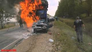 Авария на трассе Ижевск   Можга столкнулись 9 автомобилей 21 09 2014 18+
