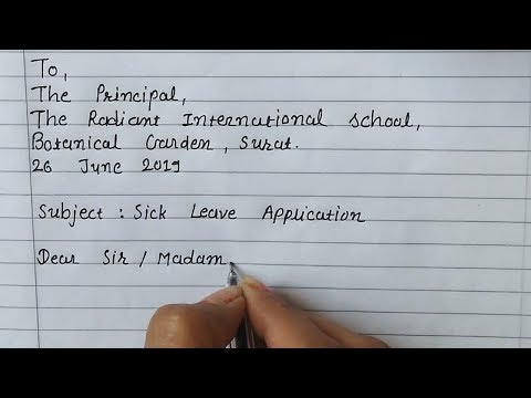 Sick Leave Application To The Principal | Application For Sick Leave | Letter Writing In English