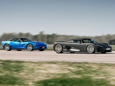 Corvette ZR1 vs Koenigsegg CCR Evo Drag Race