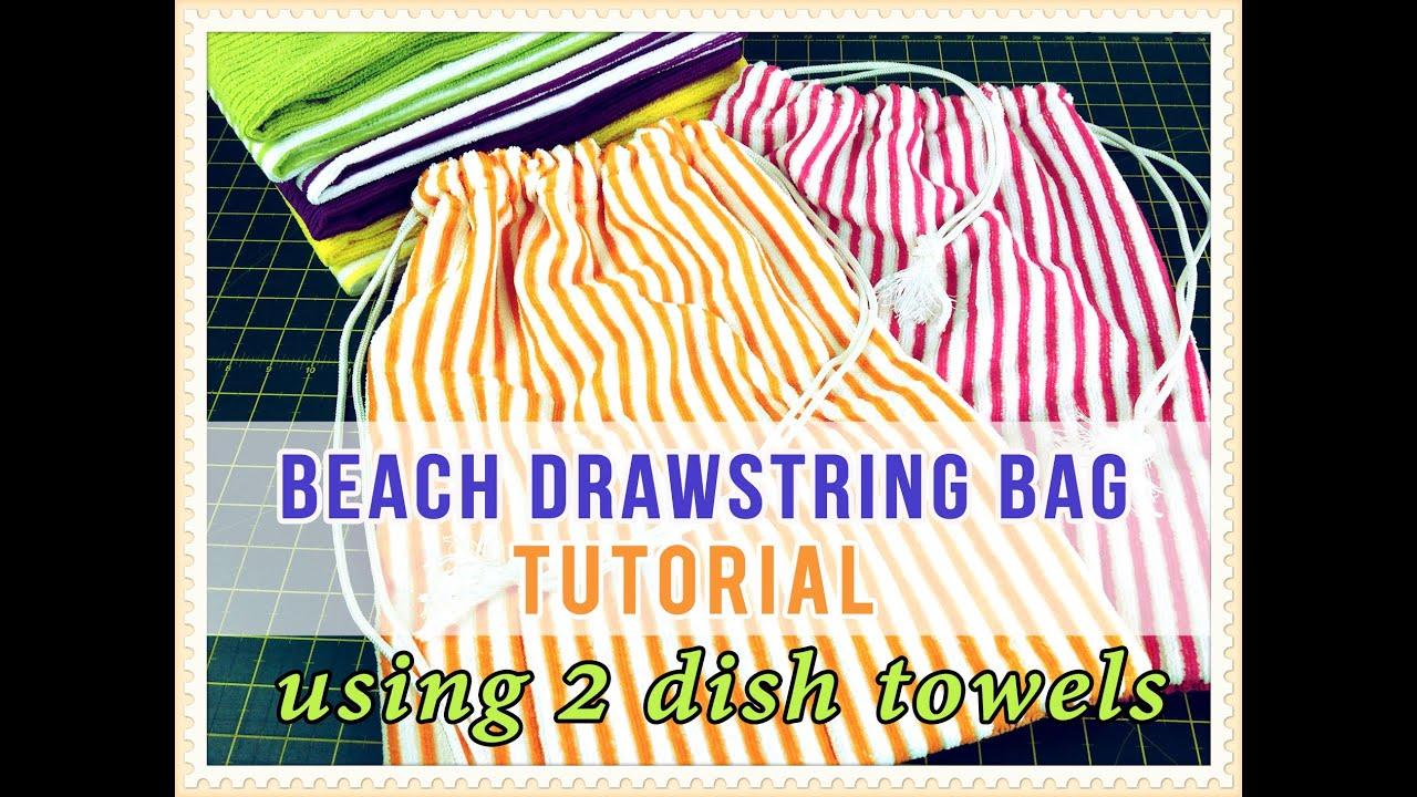 The 2 Dish/Tea Towel Drawstring Bag Tutorial - EASY Tutorial