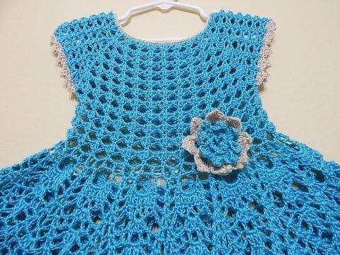 fc0a31fabe Crochet Mittens - Vestido Crochet Olanes para Niña parte 1 de 3