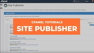 cPanel Tutorials - Site Publisher