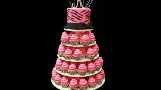 Pink Zebra Striped Cupcake Tower