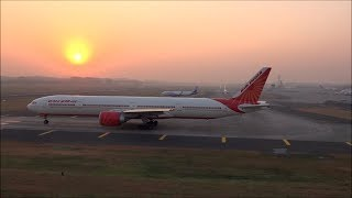Grand Air India Take Off, Indigo Landing & Interesting Scenario Of Mumbai Airport At Sunset !!