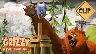 Grizzy fait une belle construction en bois - Grizzy & les Lemmings