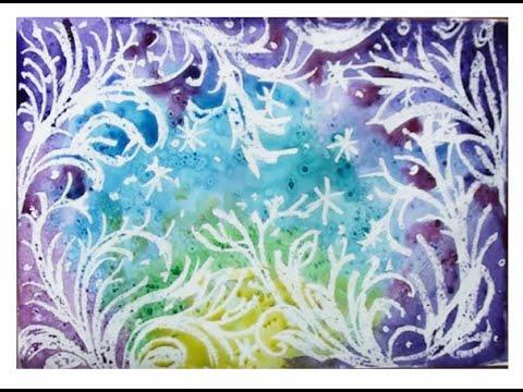 Как нарисовать морозный узор. Нетрадиционные техники рисования. Морозные узоры поэтапно.