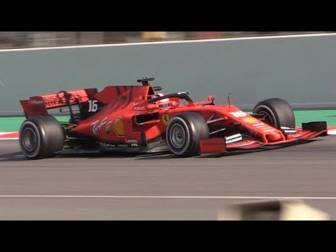 2019 Ferrari SF90 F1 Testing at Circuit de Barcelona-Vettel and Leclerc in Action