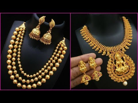 Latest Gold Mini Haram Gold Necklace Designs with weight
