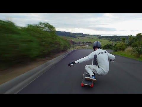 Reaching speeds of 91Kph on a longboard
