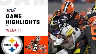 The Pittsburgh Steelers take on the Cleveland Browns during Week 11 of the 2019 NFL season.  Subscribe to NFL: http://j.mp/1L0bVBu  Check out our other channels: NFL Vault http://www.youtube.com/nflvault NFL Network http://www.youtube.com/nflnetwork NFL Films http://www.youtube.com/nflfilms NFL Rush http://www.youtube.com/nflrush NFL Play Football https://www.youtube.com/playfootball NFL Podcasts https://www.youtube.com/nflpodcasts  #NFL #Steelers #Browns