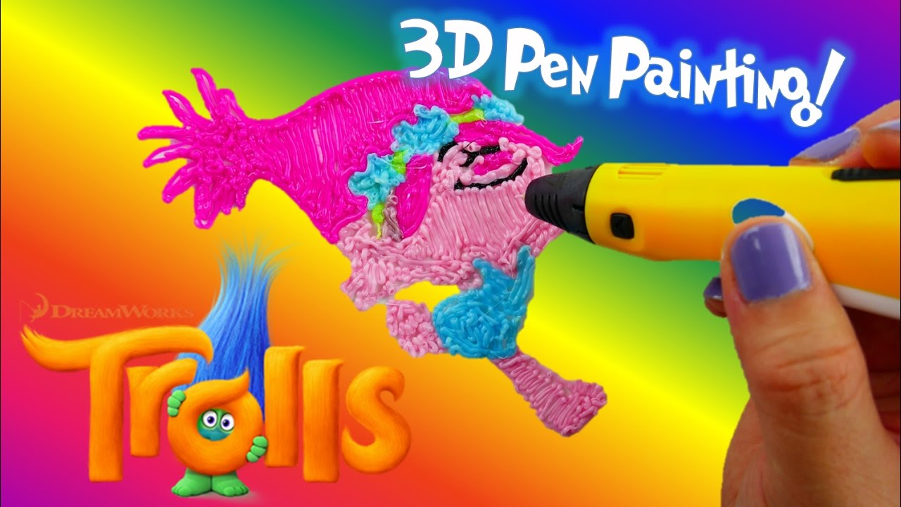 Dreamworks Trolls POPPY Coloring With 3D Pen - Trolls Coloring Pages for Kids | Evies Toy House