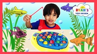 LET'S GO FISHING GAME with Surprise Eggs Opening and Learn Colors