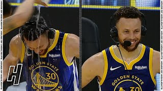 Stephen Curry Gets Soaked After Dropping 53 Points, Postgame Interview vs Nuggets   April 12, 2021