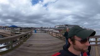 Walk the St. Augustine Beach Pier with waterfowl in 360 VR w/ 360 video