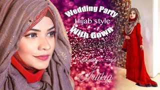 Wedding Party Hijab Style With Gown || Hijab Tutorial || Artikia