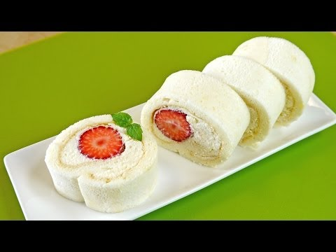 Strawberry Milky White Swiss Roll Cake Recipe
