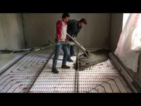 Качаем мелкозернистый бетон на стяжку, теплый пол.