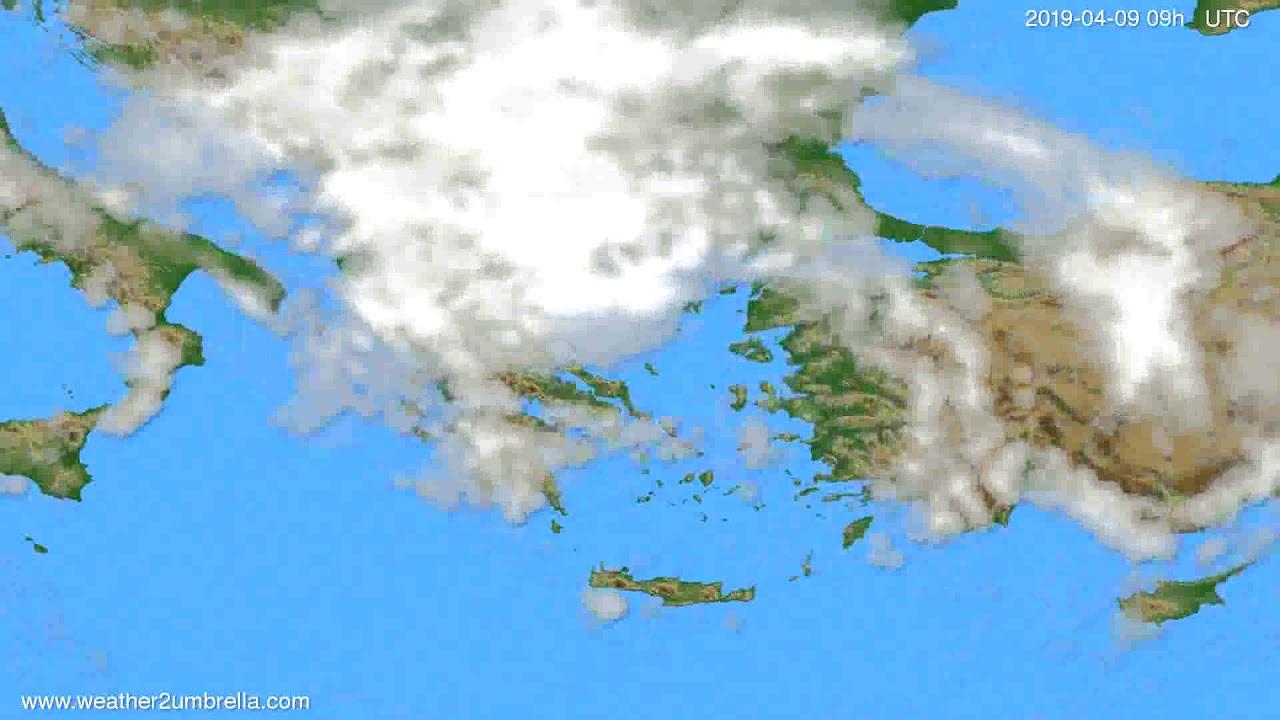 Cloud forecast Greece // modelrun: 12h UTC 2019-04-07