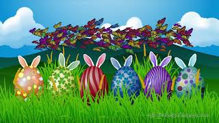 Happy Easter Holiday Greeting Animation Grassland Landscape With Colored Eggs, Bunny Ears, And Butterflies