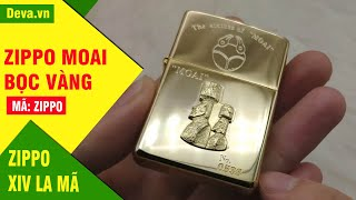 Deva.vn bật lửa Zippo bọc vàng năm 1996 siêu hiếm tượng MOAI bí ẩn giá 3 triệu