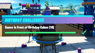 Dance in Front of Different Birthday Cakes (10) All Locations - Fortnite Birthday Challenges